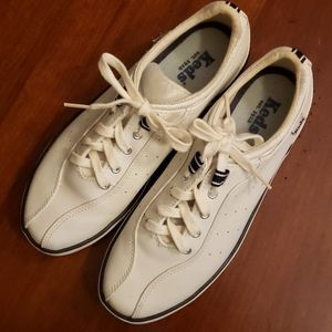Keds White & Navy Faux Leather Sneakers VGUC